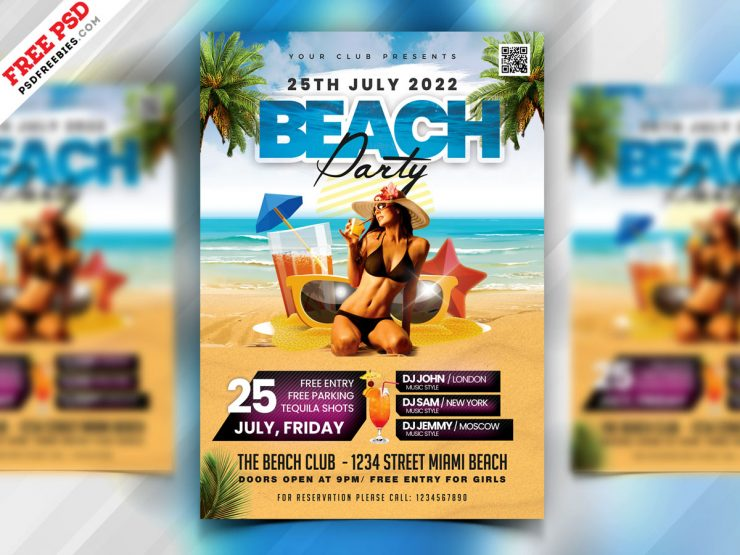 At the Beach PSD Free Flyer Template