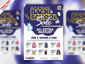 Back to School Sale Free PSD Flyer Template