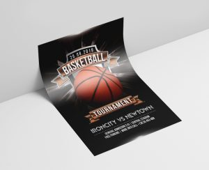 Basketball Tournament PSD Free Flyer Template