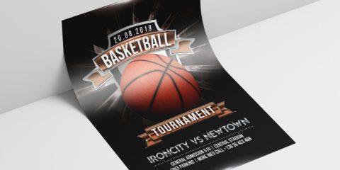 Basketball Tournament PSD Free Flyer Template