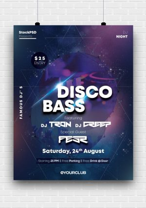 Bass Party Free PSD Flyer Template