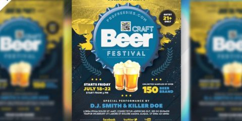 Beer Festival Celebration PSD Free Flyer Template