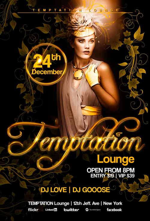 Black & Gold Lounge PSD Flyer Template