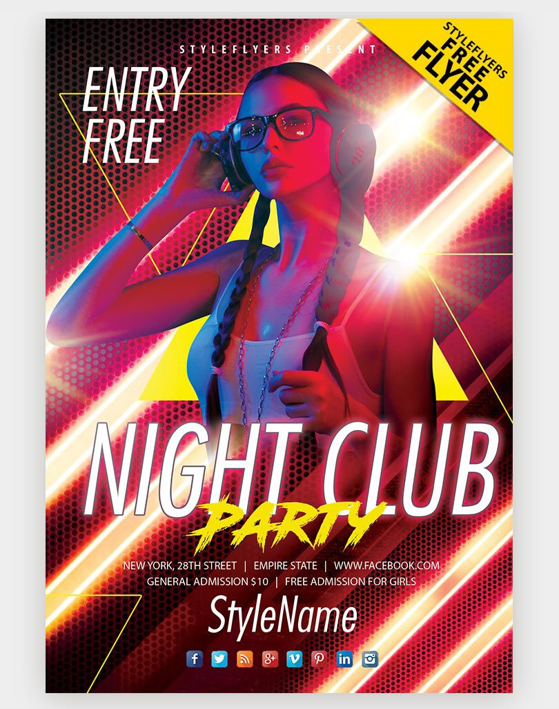 DJ Club Night Free PSD Flyer Template