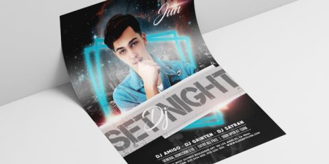 DJ Night Event PSD Free Flyer Template