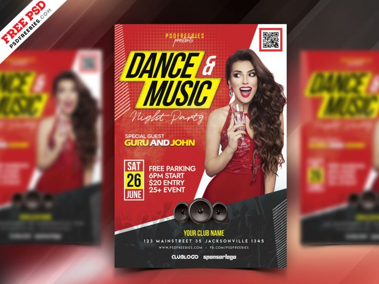 Electro Music Party Free PSD Flyer Template