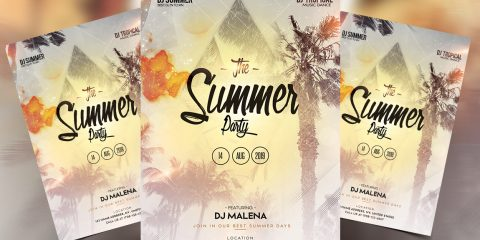 Event in Beach Free PSD Flyer Template