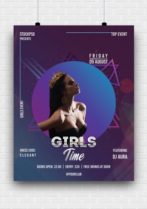 Girls Party - Abstract Free PSD Flyer Template