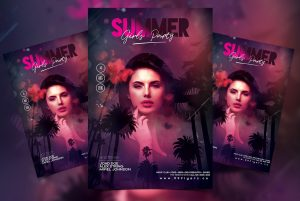 Girls Party in Summer PSD Free Flyer Template