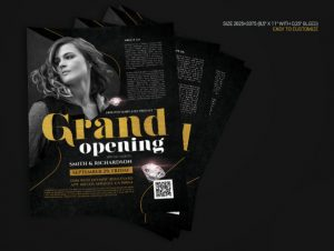 Grand Opening Gold and Black Flyer Template in PSD