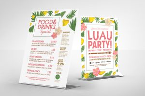 Luau Party Free PSD Flyer & Menu Template
