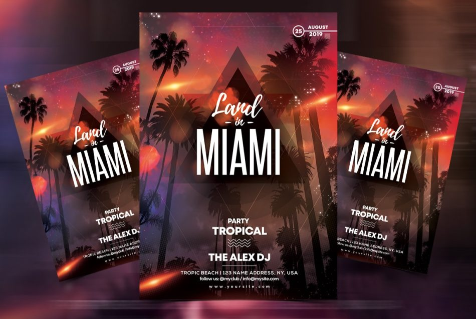 Miami Beach PSD Free Flyer Template
