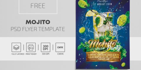Mojito Drink Free PSD Flyer Template