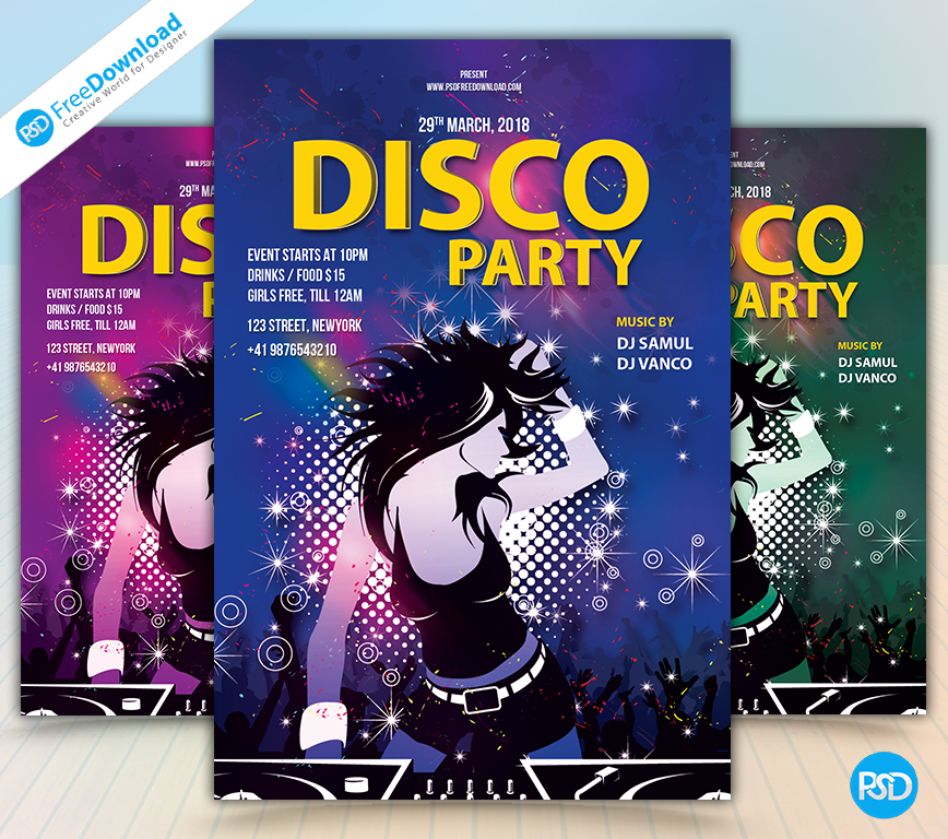 Party Disco PSD Free Flyer Template