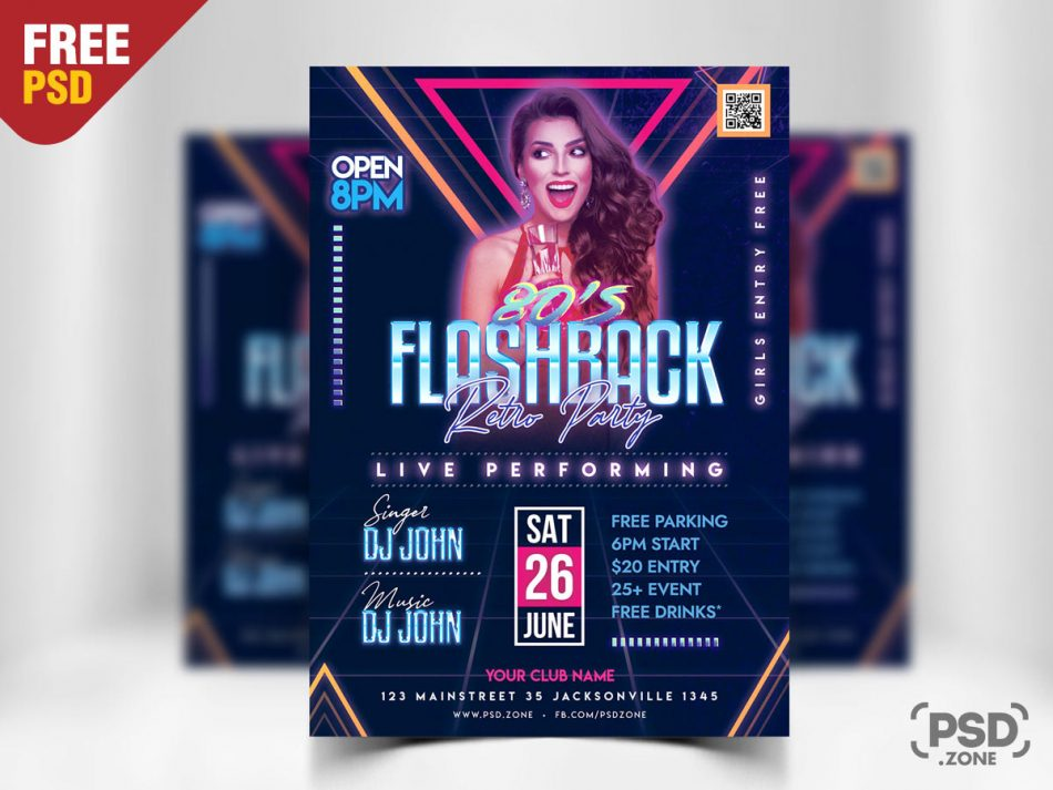 Retro Electro Party PSD Free Flyer Template
