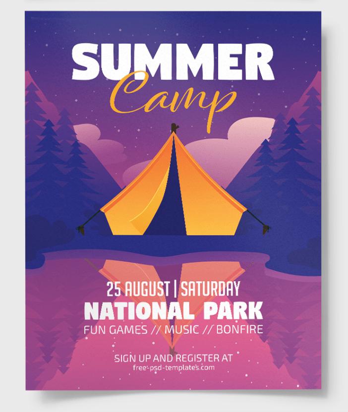 Summer Camp Freebie PSD Flyer Template