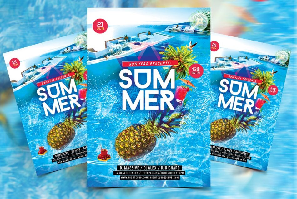 Summer Splash Free PSD Flyer Template