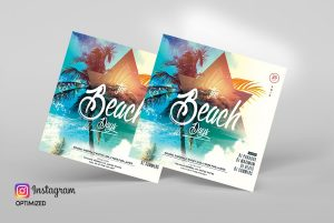 Summer Tropical Party PSD Free Flyer Template