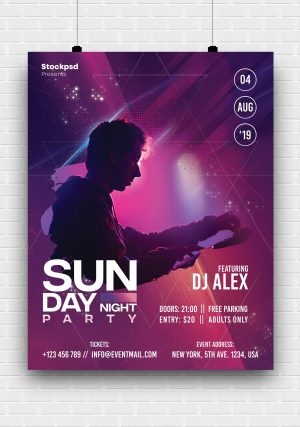 Sunday Night PSD Freebie Flyer Templates