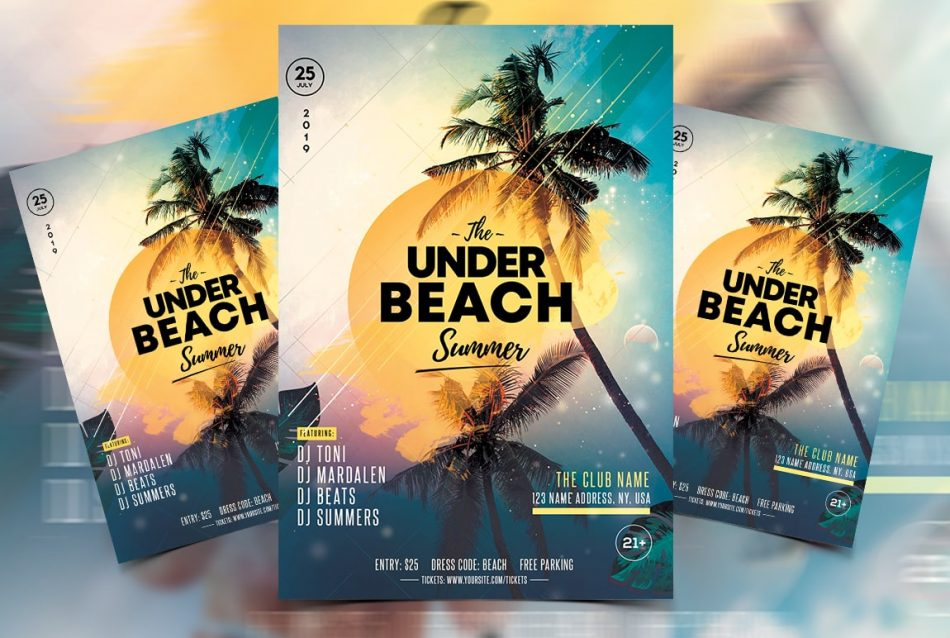 Sunset Party PSD Free Flyer Template