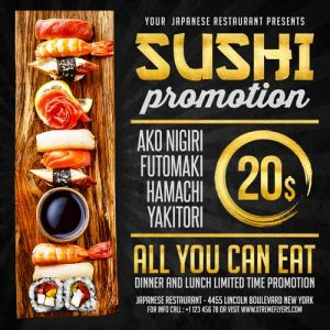 Sushi – Restaurant Free PSD Flyer Template