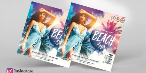 Tropical Day Free Instagram PSD Flyer Template