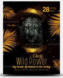 Wild Power Party PSD Free Flyer Template