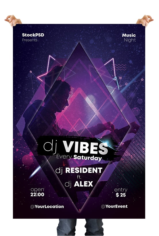 Abstract Geometric PSD Party Free Flyer Template