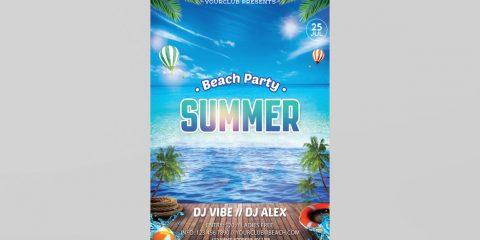 Beach Party Freebie PSD Flyer Template