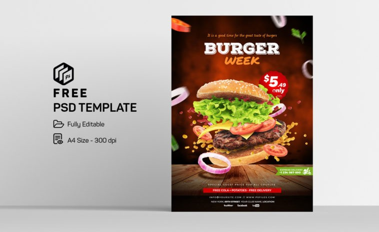 Burger Special Food Free PSD Flyer Template