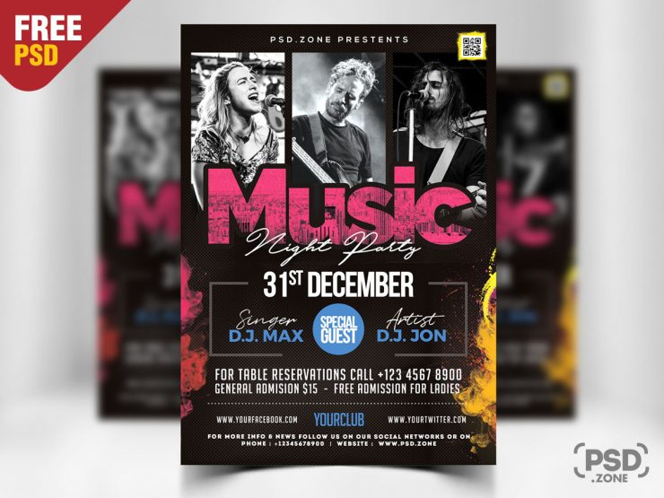 Concert Event Free PSD Flyer Template