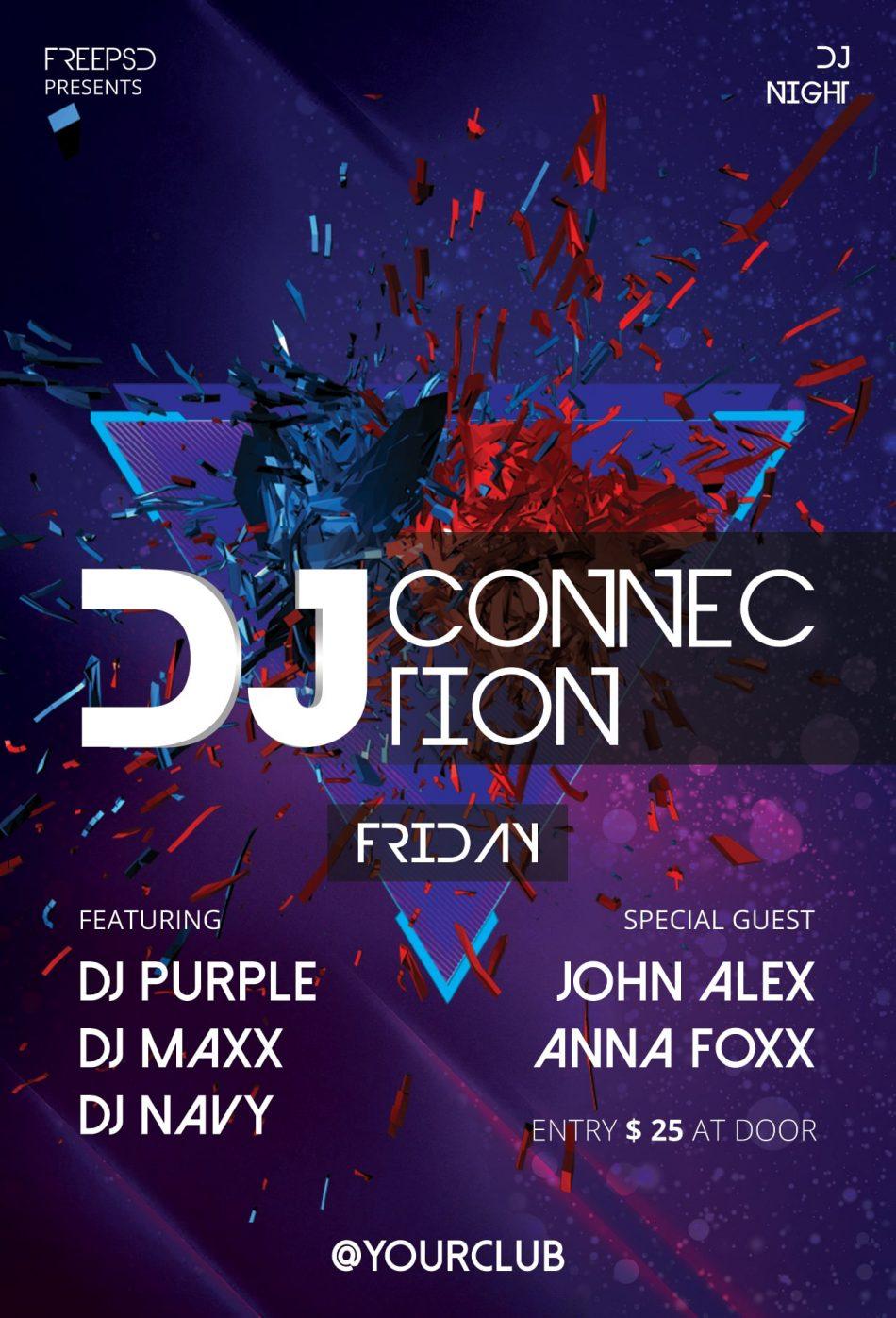 DJ Party PSD Freebie Flyer Template