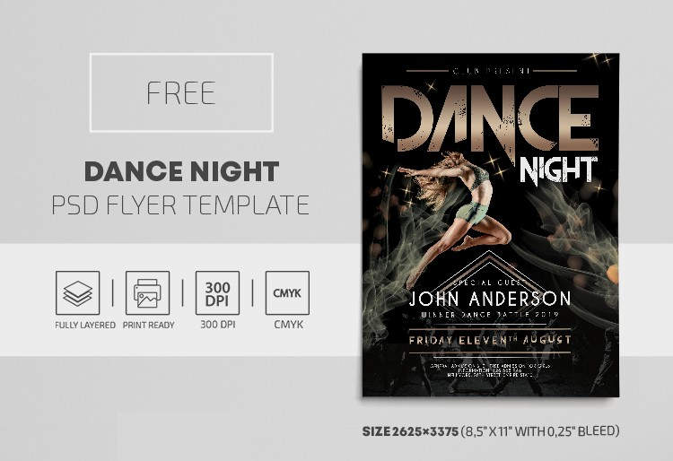 Dance Night PSD Free Flyer Template