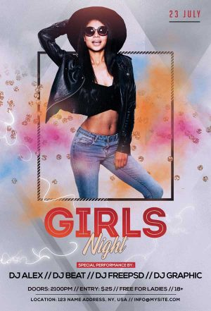 Girls Night Event Free PSD Flyer Template