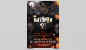 Halloween Night Party PSD Free Flyer Template