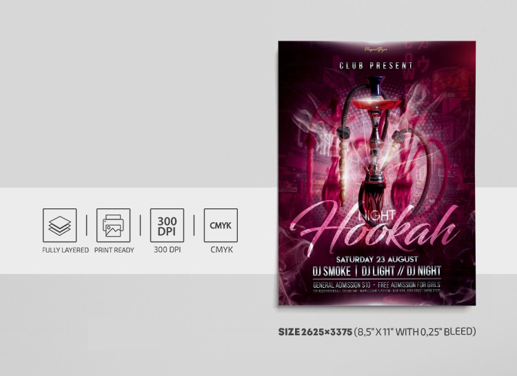 Hookah Party PSD Free Flyer Template