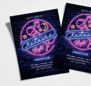Karaoke Night – Free Neon PSD Flyer Template