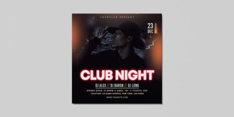 Night Party Free DJ PSD Flyer Template