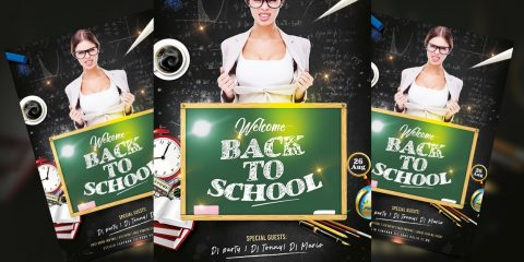 Party Back to School PSD Free Flyer Template