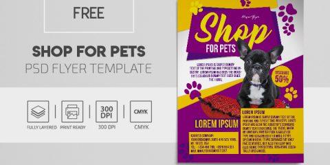 Pets Care & Shop Free PSD Flyer Template
