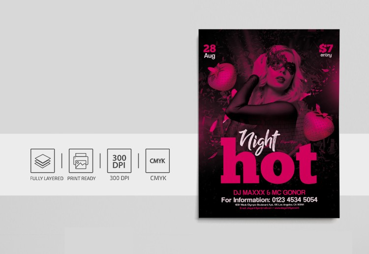 Pink Night Free PSD Flyer Template