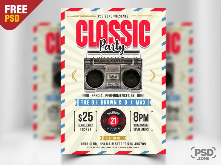 Retro Vintage Freebie PSD Flyer Template