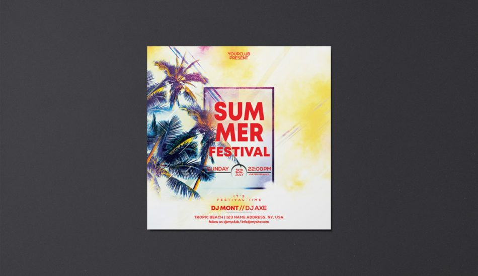 Summer Festival PSD Freebie Flyer Template