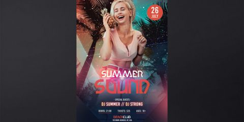 Summer Sound PSD Free Flyer Template