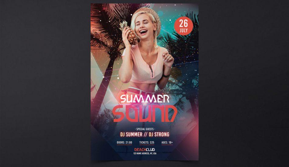 Summer Sound PSD Free Flyer Template