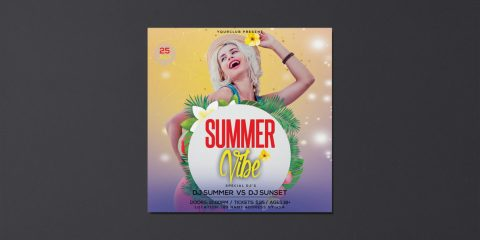 Summer Vibe Free PSD Flyer Template + Instagram Post