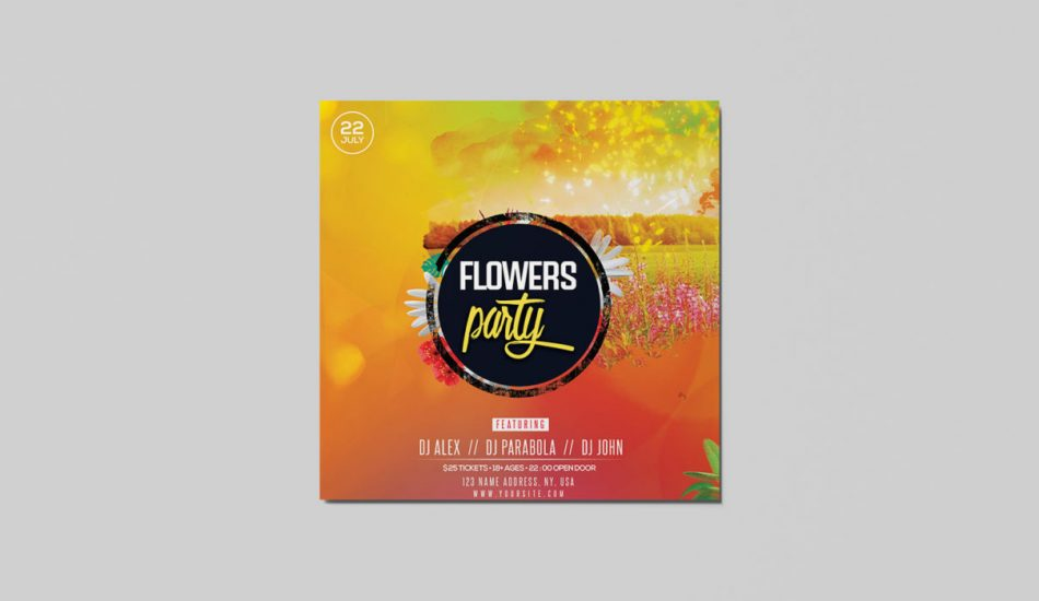 Sunset Party PSD Free Flyer Template for Instagram