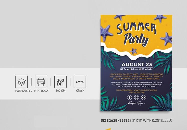 Tropical Summer PSD Free Flyer Template