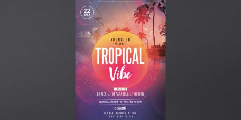 Tropical Vibes Event Free PSD Flyer Template