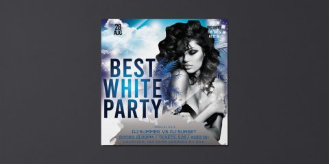 White Party Free Instagram Flyer Template in PSD